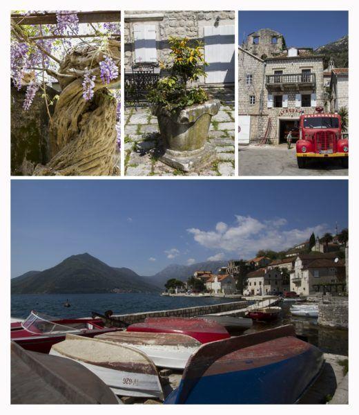 Four views of Perast, Montenegro.