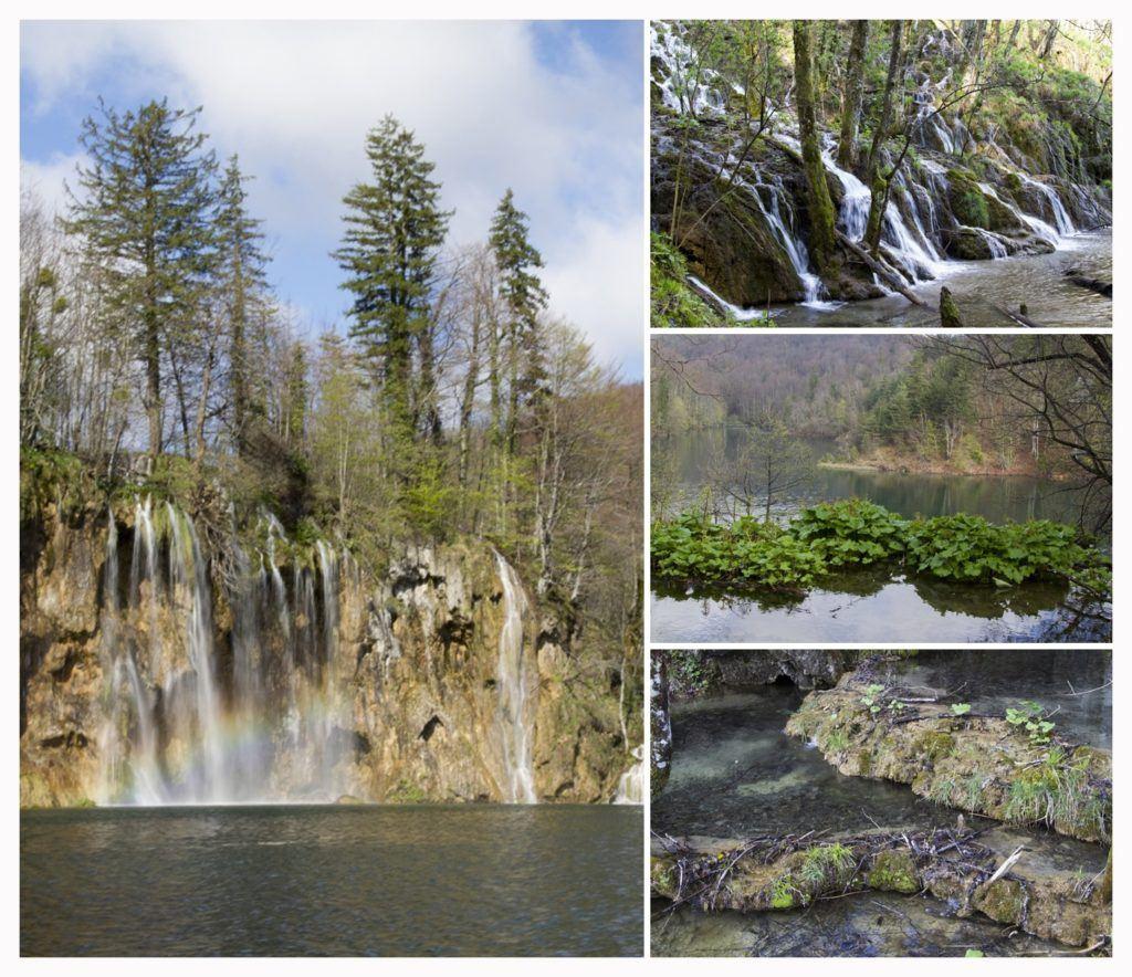 Different scenes around Plitvice Lakes.