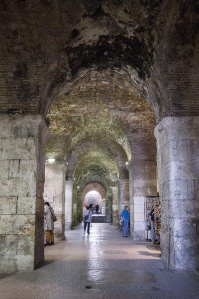 Vaulted marble walkway in Split.