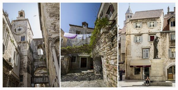 Three scenes from Split old town.