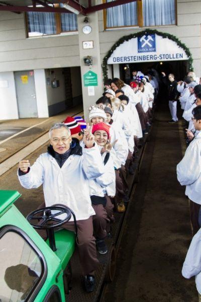 Riding the salt train to the mine.