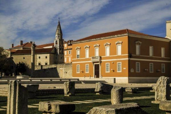 Roman forum ruins in Zadar.