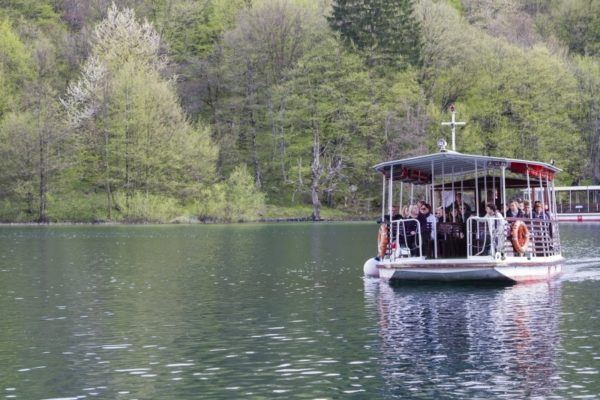 Passenger ferry takes tourists across the lake at Plitvice.
