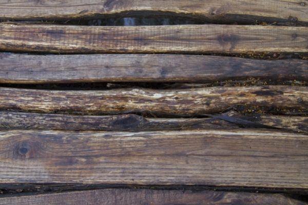 Old wood walkway in Plitvice.