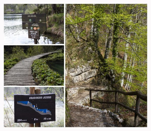 Different views of Plitvice Lakes walking path.