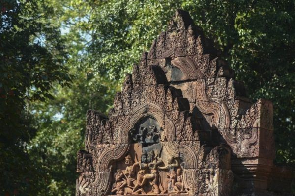 One of the carved stone reliefs in Angkor Wat.