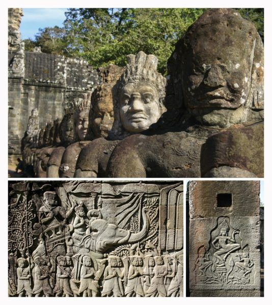 Stone carvings like these can be found all over the temples in Angkor Wat.