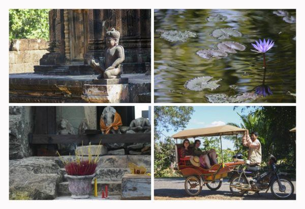 Scenes from Angkor Wat include Buddha statues, water lilies, incense offerings and a tuk tuk ride.