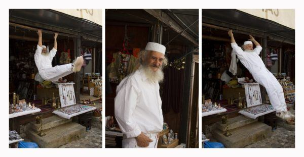 Old shop keeper showing his moves in Mostar.