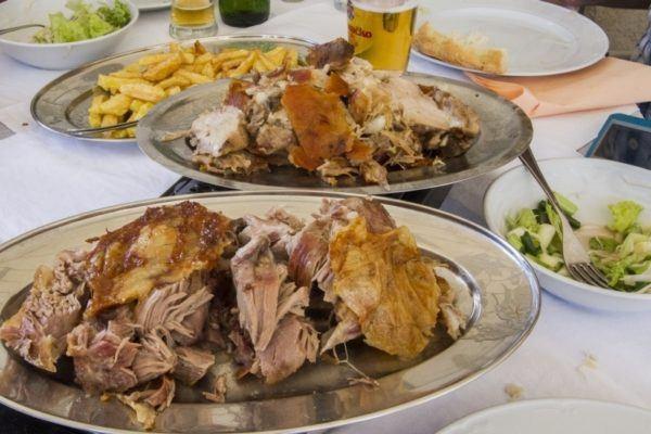 Plateful of roast lamb in Croatia.
