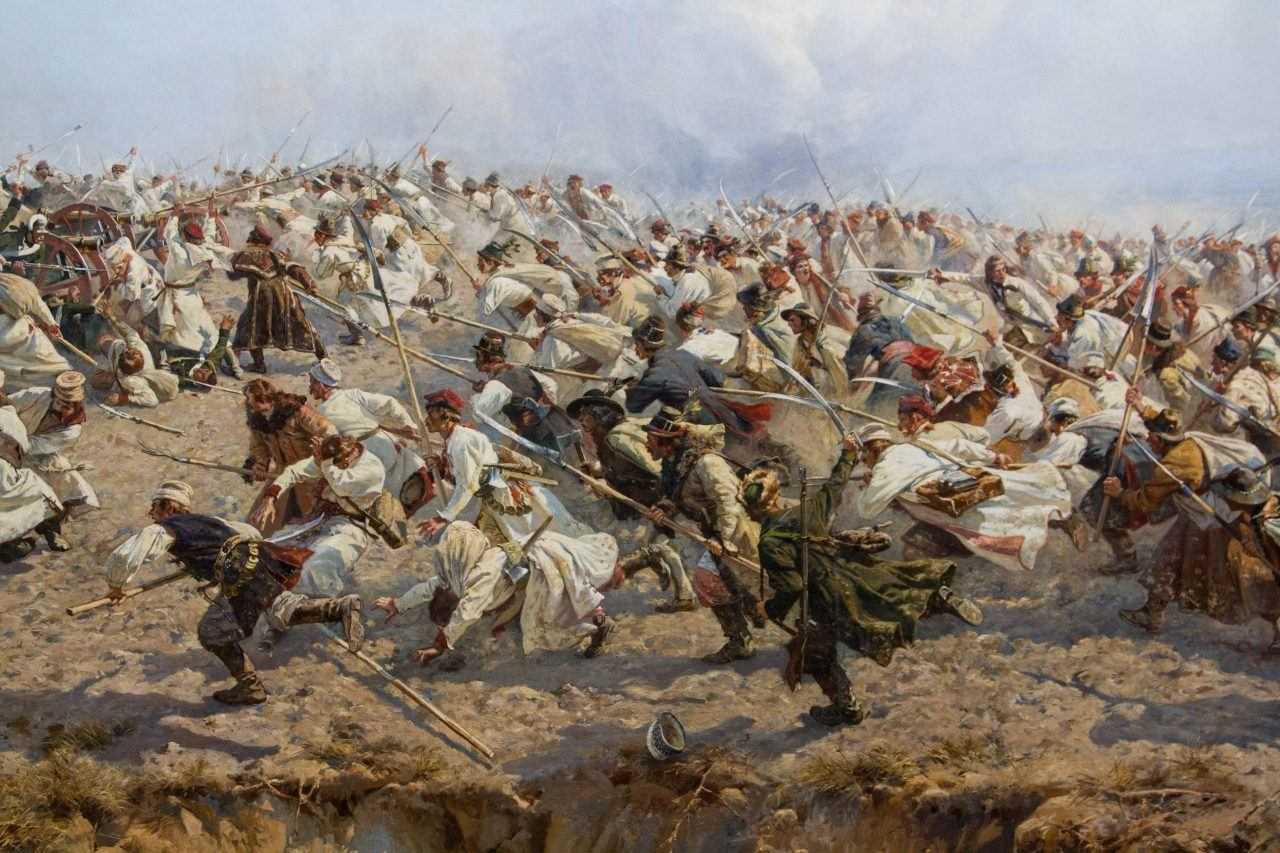 A painting of a battle that can be found in the Panorama Raclawice.