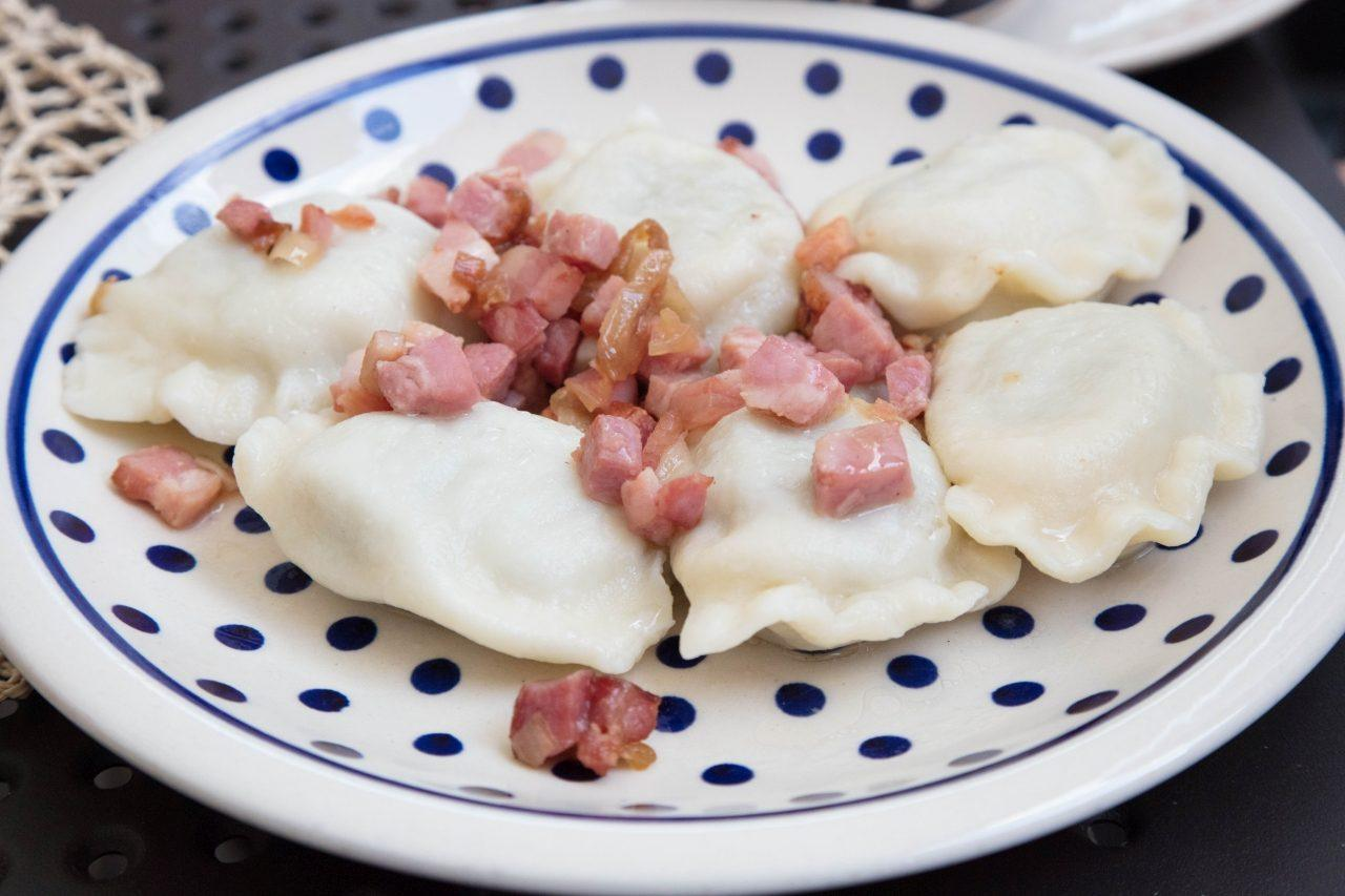 A place of pierogies with ham and onions.