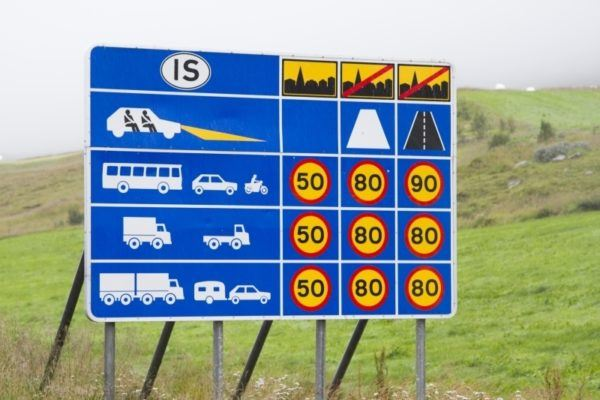 Informational traffic sign in Iceland showing speed limits for different types of vehicles and different types of roads.