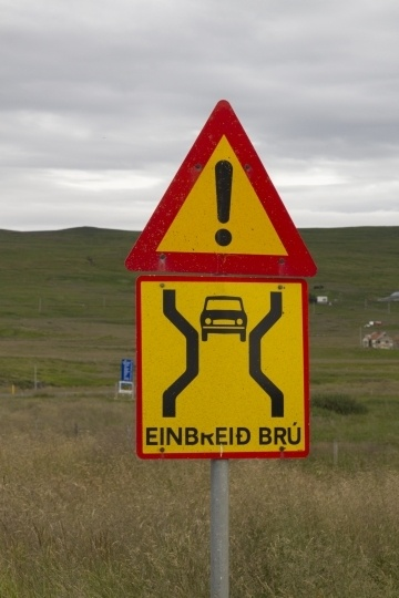 One way bridge sign found driving in Iceland