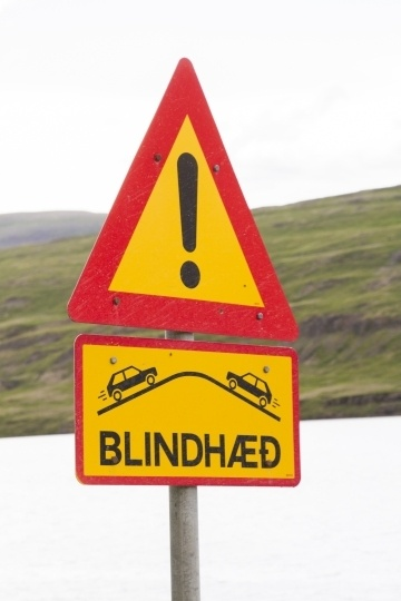 Blind hill sign found driving in Iceland.