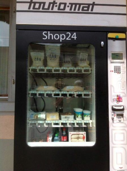 A vending machine with all the fixings for a full fondue dinner.