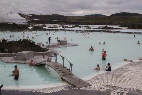 Inside the Blue Lagoon near Reykjavik.