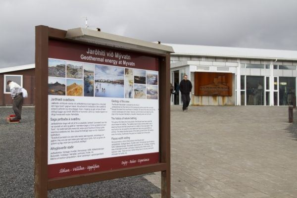 Informational sign about the Myvatn hot spring baths.