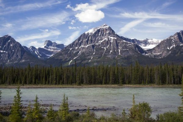 Cruising the Icefields Parkway in Canada has spectacular mountain views like this.