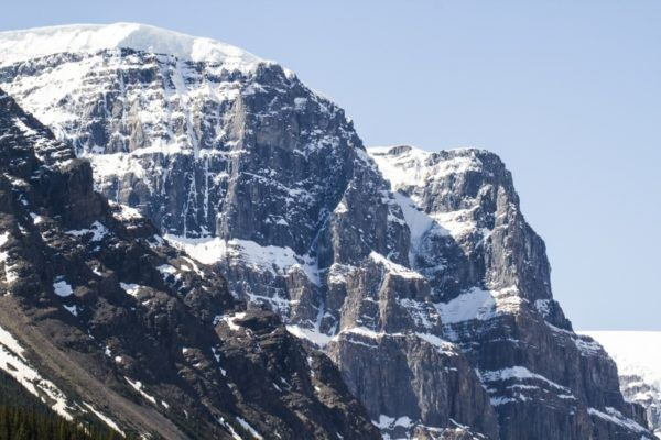 Zebra striped mountain seen on the Icefields Parkway.