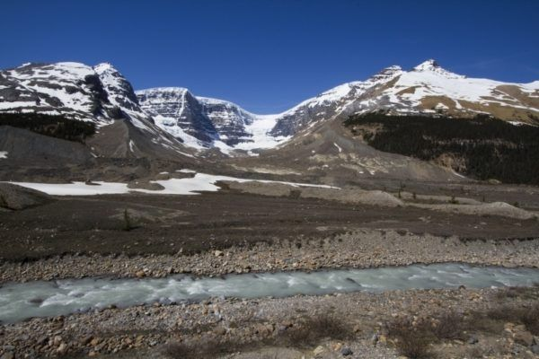 Glacier and runoff stream in the Icefields Parkway zone.