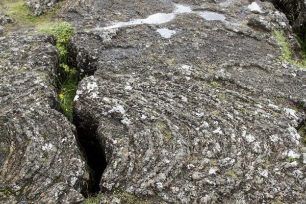 Interesting lava flow patterns in the rocks at Thigvellir.