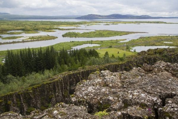 A view of the continental gap at Thingvellir National Park.