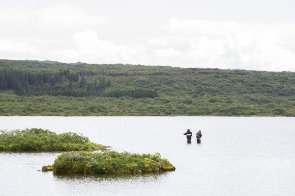 Fishermen try their luck atThingvellir National Park.