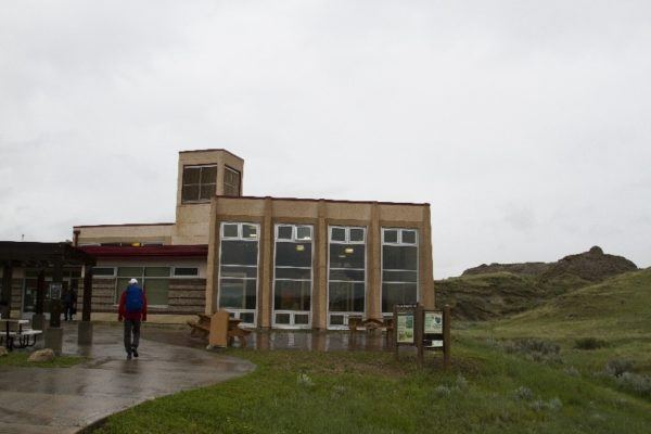 Exterior view of the museum at Dinosaur Provincial Park in Canada.