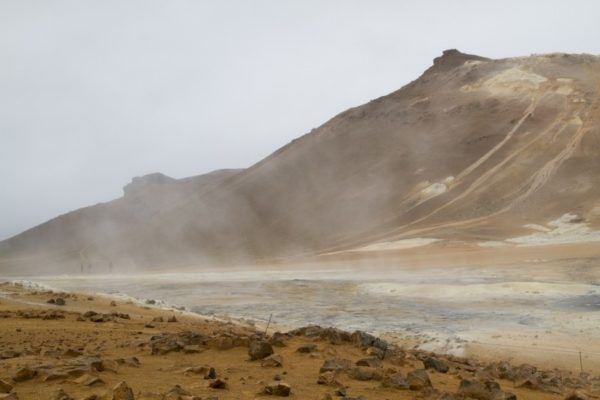 The landscape looks a little Martian at Námafjall.