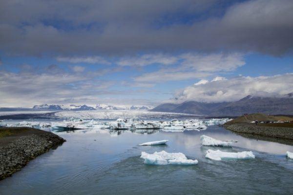 Icebergs leaving Jokulsarlon Glacier Lagoon.