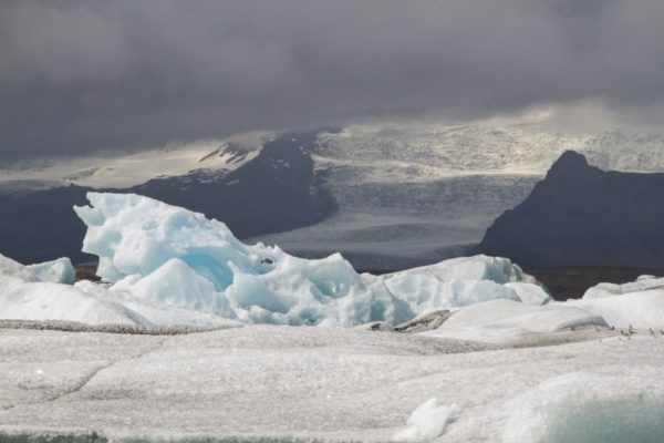View of the glacier that feeds into the Jokulsarlon Glacier Lagoon.