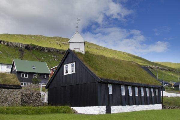 Sod roof covered church in the Faroes.