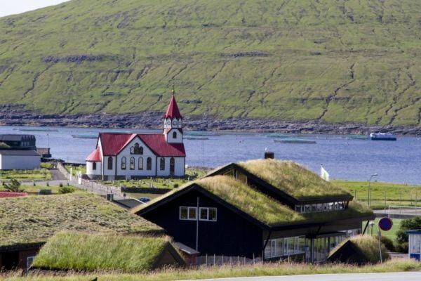 Coastal church in a village in the Faroe Islands.