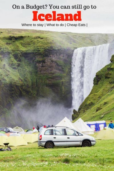 Camping in Iceland near a giant waterfall.