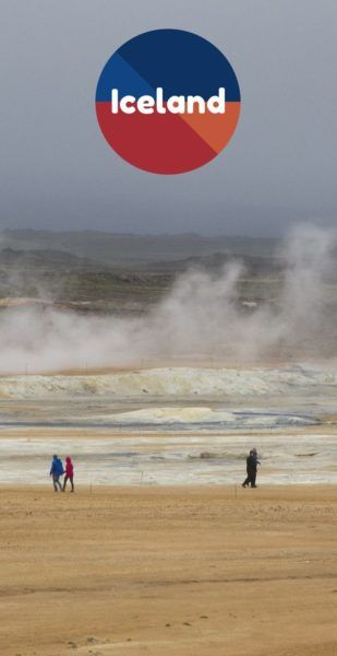 Visitors walk around sulfur pits in Iceland.