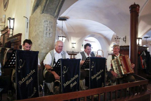 Hofbrauhaus band plays every day.
