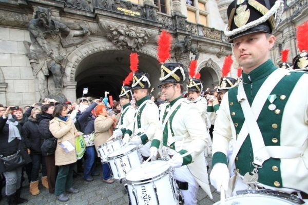 The marching band precedes the all-important stollen.