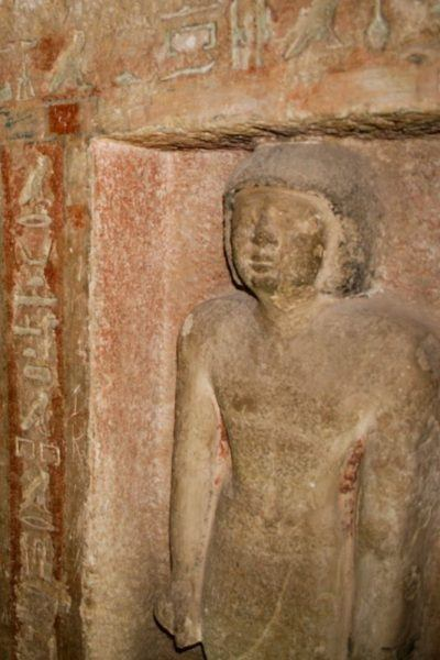 A relief statue inside King Tut's tomb.