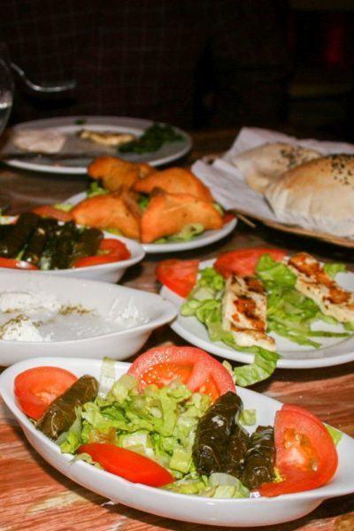 Stuffed grape leaves, salads, and Egyptian bread.