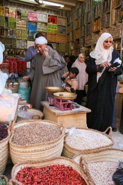 Customers shopping in Khan el-Khalili in the historic center of Cairo.