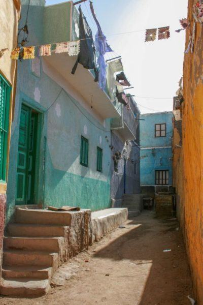 Colorful buildings in a Nubian village on the other side of the river from Luxor.