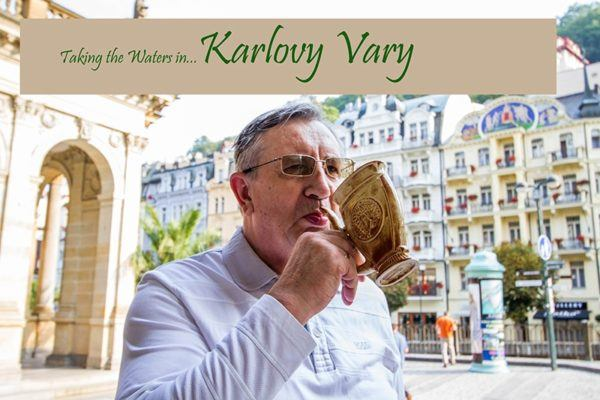 A man sipping from the special water vessel in Karlovy Vary.
