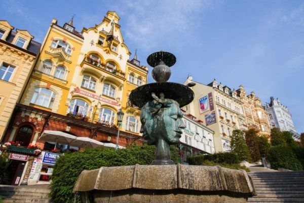 Fountain in front of the Hotel Romance, Karlovy Vary.