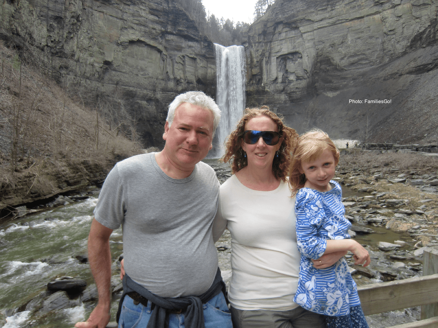Eileen and family at waterfall.