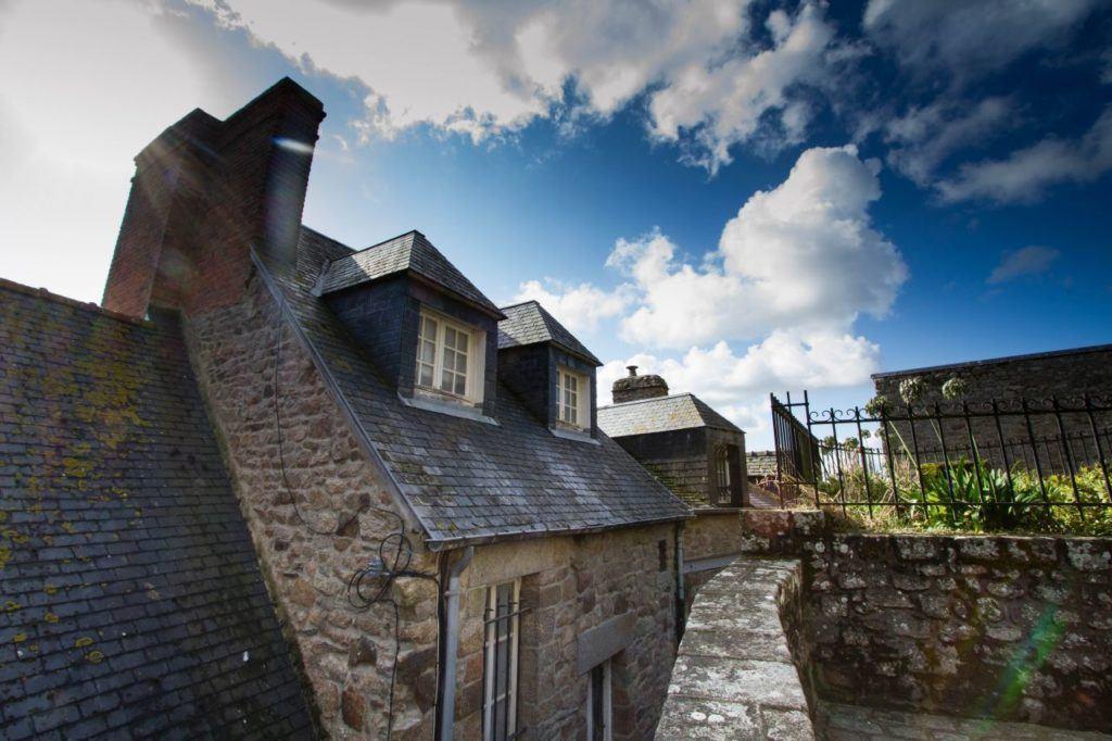 Stone verandas and French houses.