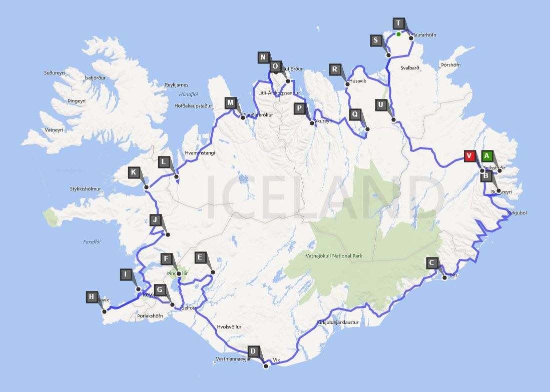 Iceland Driving Route