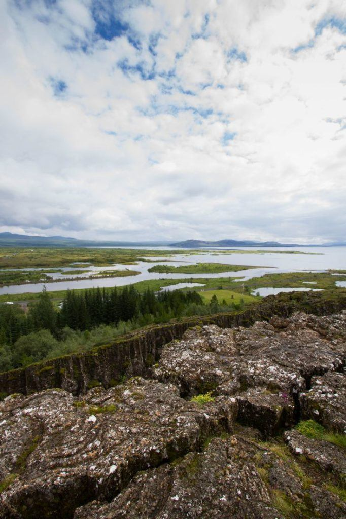 Looking out to the water over the continental rift at Thingvellir, Iceland.