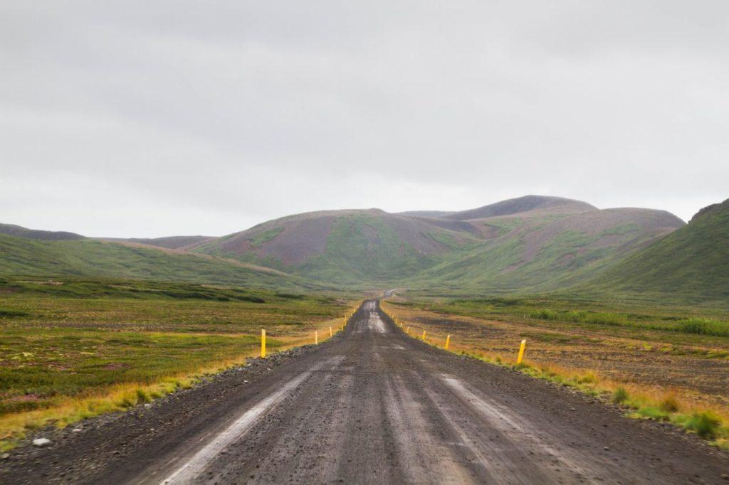 Gravel road wandering through Iceland's interior.