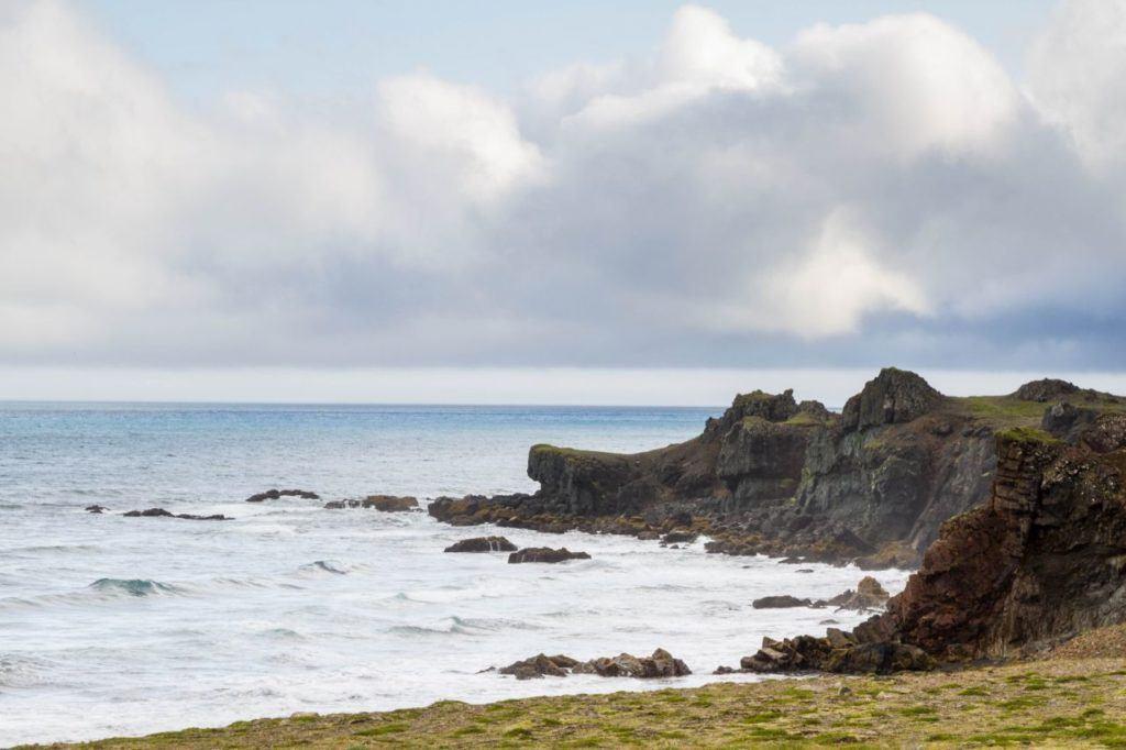 The rugged coastline along Iceland's southeastern coast.